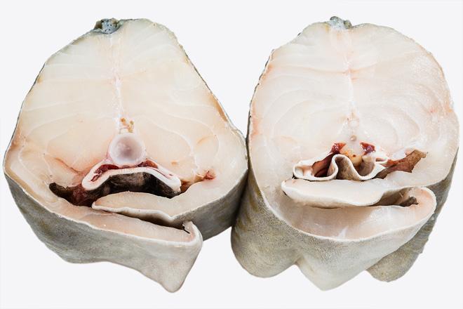 "Photo Atlantic Cod steak ""Cod seafrozen"" defrosted"