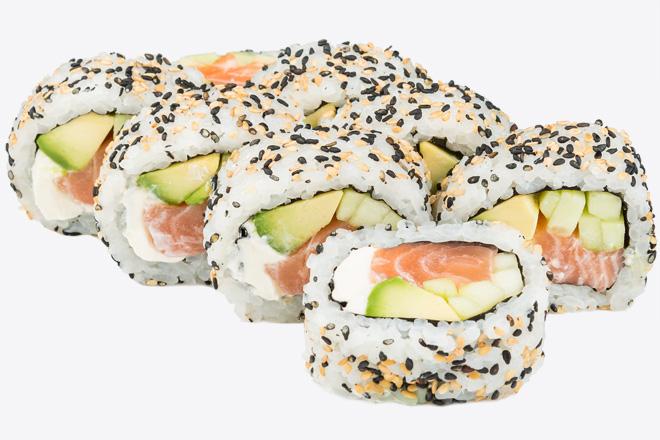 Photo Dish Philadelphia with salmon in sesame seeds