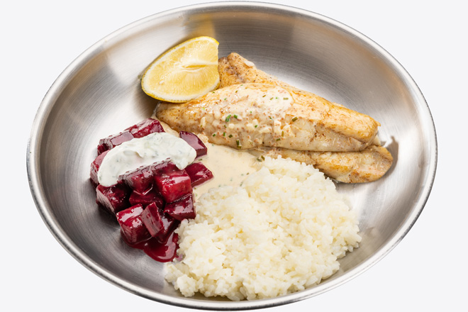 Філе Сібаса з рисом, буряком, соусом порц.